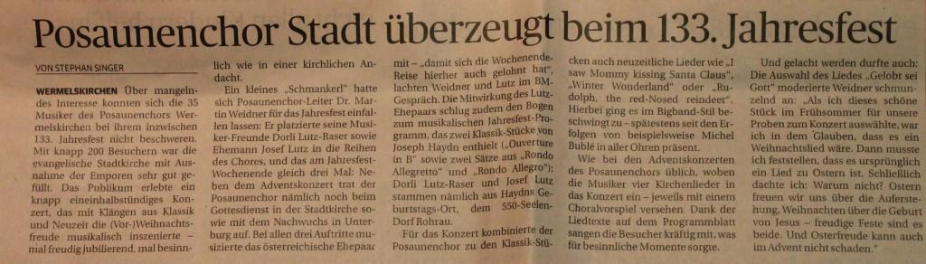Bericht in der Bergischen Morgenpost am 08.12.2015