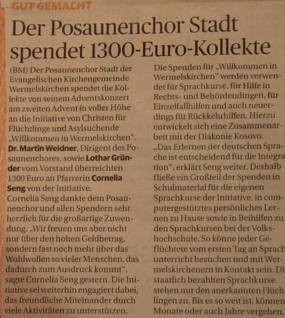 Artikel aus der Bergischen Morgenpost vom 08.12.2015